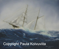 Myrskyn aalloilla, öljyväri, 450 €