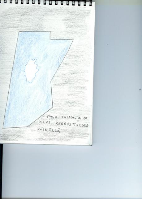 Kuva 33. Pala taivasta ja pilvi kerrostalojen keskellä