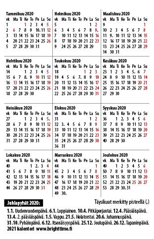 Tulostettava Kalenteri 2021