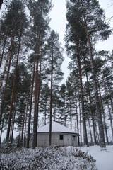 Talvinen tsasouna niemenkärjessä.
