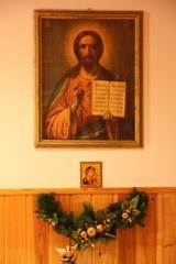 Evakko Kristus ikoni joulukoristeineen.
