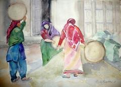 Nepalilaisia naisia riisin puhdistuksessa