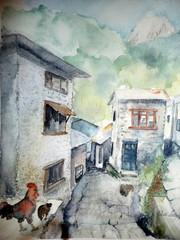 Vuoristokylä Nepalissa