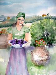 Tyttö Toscanassa