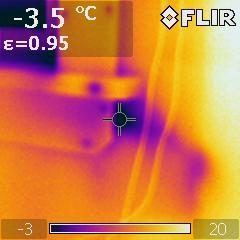 Lämpökamera, sisältä, ikkunanpieli
