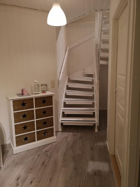 Portaikko maalaus, uusi lattia ja ovet.