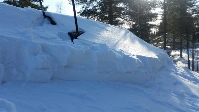 kattolumi viikonlopun lumimyrskyn jälkeen