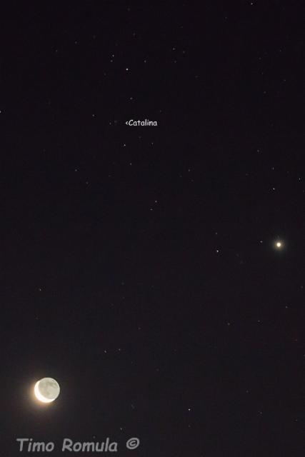 Catalina-komeetta, Kuu ja Venus