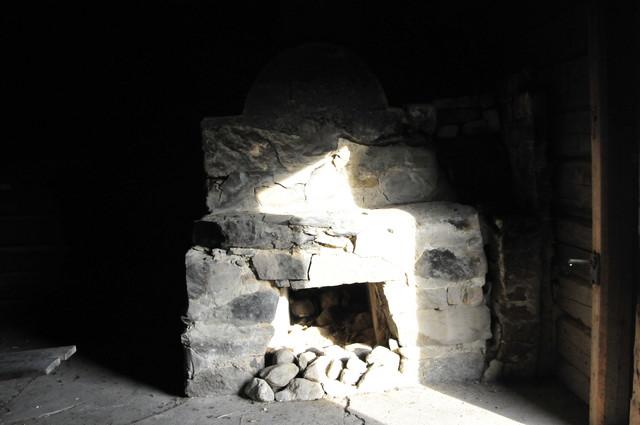 Fireplace in chapel