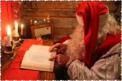 Santa Claus is reading