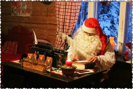 Santa is writing letters for someone