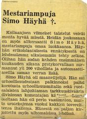 Simo Häyhän kaatumisilmoitus.