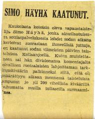 Simo Häyhän kuolinilmoitus vuodelta 1939