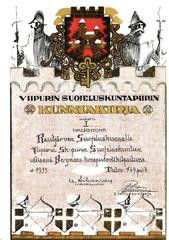 Rautjärven suojeluskunnan viismiehisjoukkueen Bergmann-konepistoolikilpailusta ansaitsema kunniakirja. I palkinto.