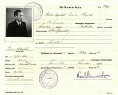 Sodan jälkeen Simo tarvitsi matkustusluvan käydäkseen entisessä kodissaan Rautjärvellä.
