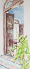 Mysore-watercolour 8, v. 2012, vesiväri paperille, 13,4 x 30,7cm, 425€, Asta Caplan