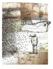 Koillistuulta, mustesuihkuvedos, 40x30cm, sarja 1-20, vedos 230 €, kehystettynä (50x40cm) 330 €, v. 2011, Johanna Pohjavirta & Tuomo Rosenlund