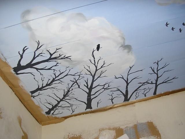 Taivas-aiheinen kattomaalaus