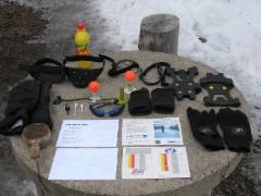 Talvigolfin varusteita