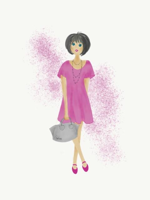 Pinkkimekkoinen tyttönen