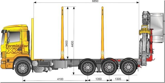 35 tonninen kevyt ja suurikuormatilainen puutavarayhdistelmän vetoauto irrotettavalla hytillisellä zetanosturilla.