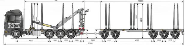 Scaniayhdistelmän kuormatila vakiokomponenteilla Weckman + Terminator XXL 127,5 m3 kolmella 5.5 m kuitunipulla.