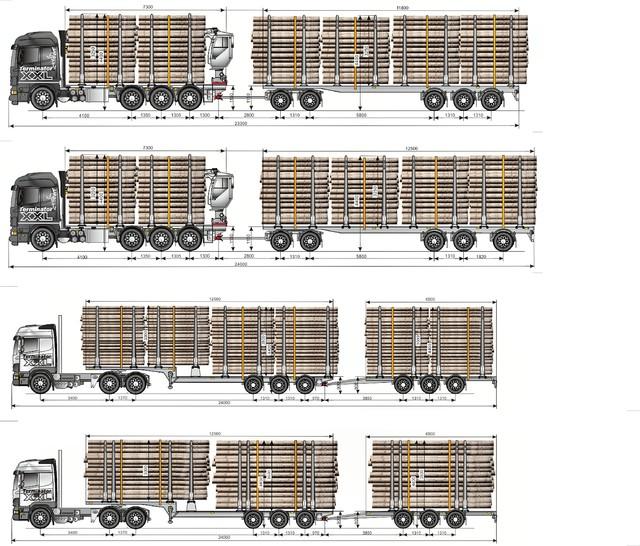 76  tonniset yli 22m yhdistelmäpituuksilla-
