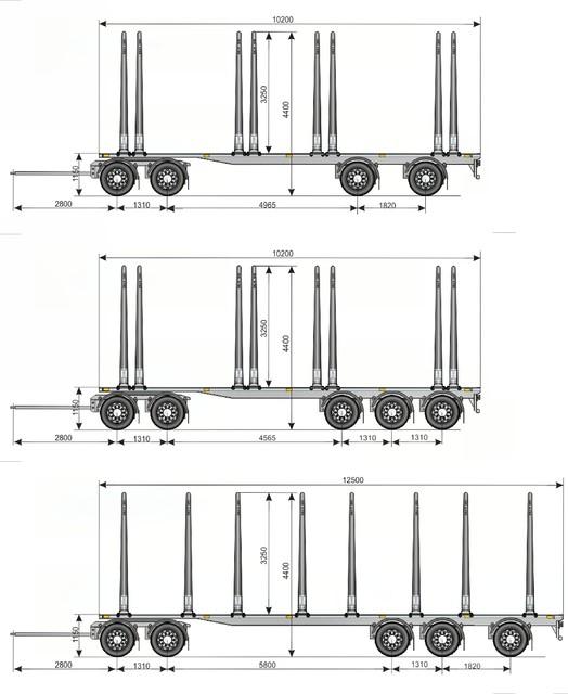 """Suomalaisen puutavarayhdistelmän kolme perusperävaunutyyppiä. Kiinteärunkoisina ja 19.5"""" vannekoolla. Runkokorkeudet kaikissa esimerkkimalleissa 1.150 m."""