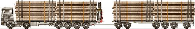 12.5 m kuormatilat autossa ja vaunussa. Neljä tukkinippua yhdistelmässä .