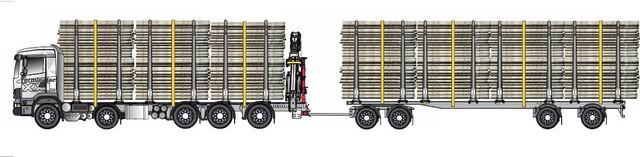 Viisiakselinen auto ja neliakselinen perävaunu ja neliakselimen perävaunu ja zetanosturi.