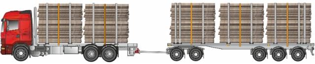 Siirtoauton 68 ton perävaunu on ciisiakselinen ja se kuljettaa kolmea/neljää kolmosnippua tai kahta kuitua/tukkia.