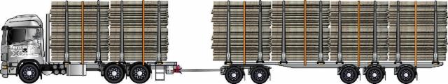 Siirtoauton pitkä vaunu 12.5m+ ottaa neljä kolmosta,tai kaksi kuitua tai tukkia.