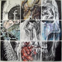 """Nine lives"" 214x214 cm, 2015"