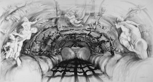 """Rakkauden puutarhassa / In a garden of love"", 140x264 cm"