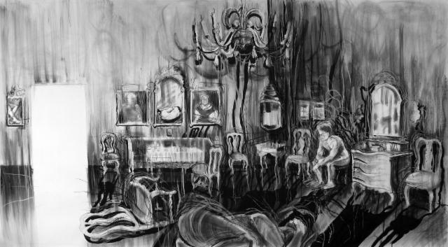 """Kodin kulisseissa / At home scene"", 140x264 cm"