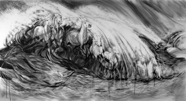 """""""Meren vaahdosta / From the foamy sea"""", 140x264cm, 2014"""