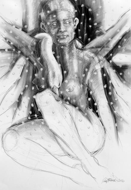 """Tuonentytti / Lady of the Black River"", 100x70cm, 2016"