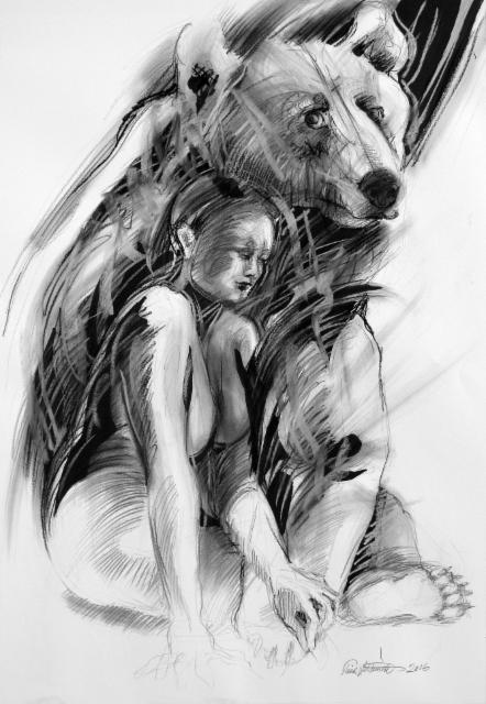 """""""Mielikki ja Mesikämmen / """"Bear keeper"""", 100x70cm, 2016"""