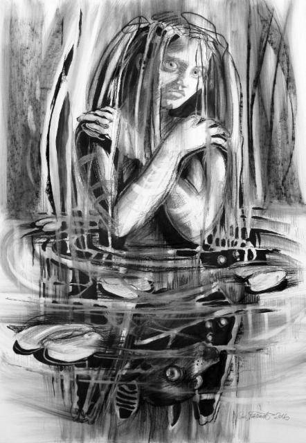 """Vesihiisi / Lady of the Lake"", 100x70cm, 2016"
