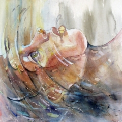 """Meri sisälläni"", 80x80cm, 2017"
