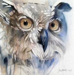 """""""Kuulin huuhkajan huhuilevan"""" / I heard the howling owl"""", 80x80cm, 2017"""