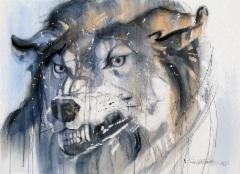 """Susimaisia ajatuksia II / Wolf-like thoughtsII"", 60x80cm, 2017"