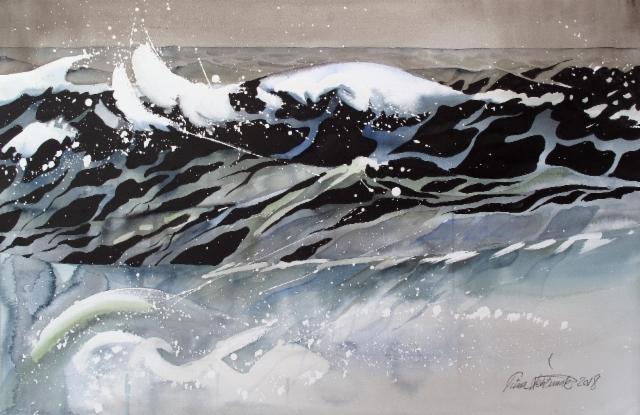 """""""Sydämiä meressä / Hearts in the sea"""", 53x78 cm, 2018"""