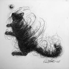 """""""Monni leikkii / Monni plays"""", 30x30 cm, 2019"""