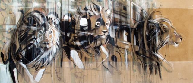 """""""Muinaiset leijonat / Ancient lions"""", 90x210 cm, 2020"""