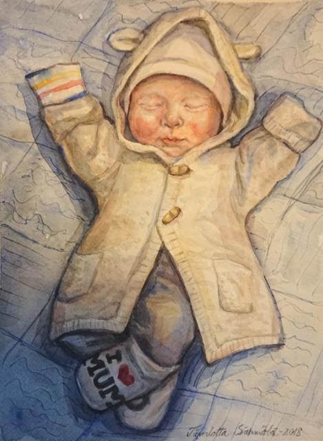 Pikkuinen, Akvarellimaalaus 2018