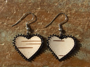 tuohikorvakorut musta, birch bark earrings black