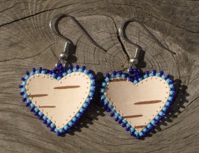 tuohikorvakorut sininen, birch bark earrings blue