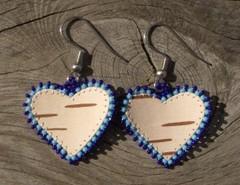 tuohikorvakorut sininen, birch bark earrings blue
