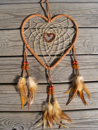 unisieppari tiilenpun. sydan, dream catcher brick red heart